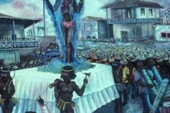 Anacaona, Indian Queen of Haiti, surrounded by Rara bands